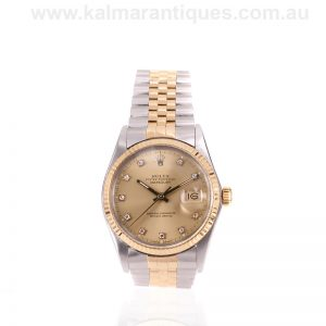 18 carat gold and steel diamond dial Rolex Datejust 16013
