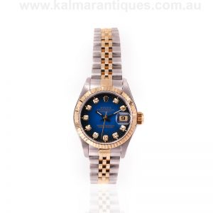 Ladies blue diamond dial Rolex Datejust reference 69173