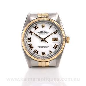 Rare Rolex Oyster Perpetual Datejust 16013 with the white porcelain dial