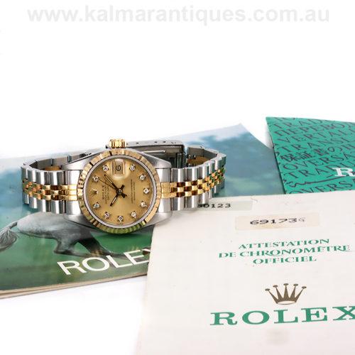 Ladies diamond dial Rolex Datejust 69173