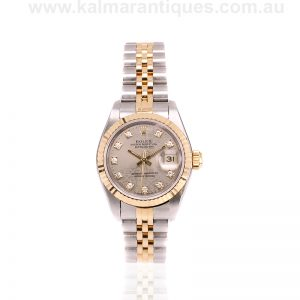 Ladies gold and steel Rolex with the diamond Jubilee dial