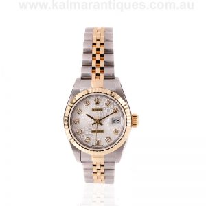 Ladies gold and steel Rolex with the diamond set jubilee dial