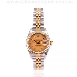 Ladies gold and steel Rolex Datejust with the rare linen dial