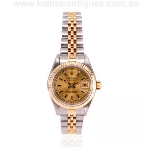 Ladies 18 carat gold and steel Rolex Datejust model 69173