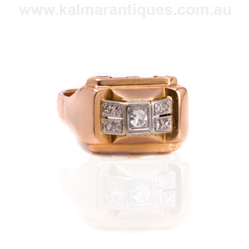 1940's French 18ct rose gold Retro era diamond ring