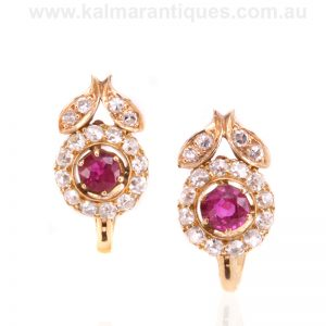 Antique ruby and diamond cluster earrings made in the early 1900's