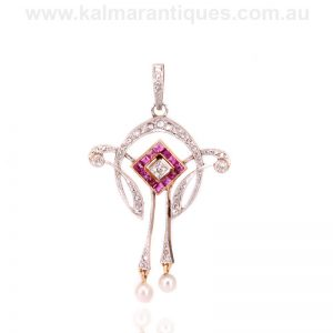 Exquisite Art Deco ruby and diamond pendant made in the 1920's
