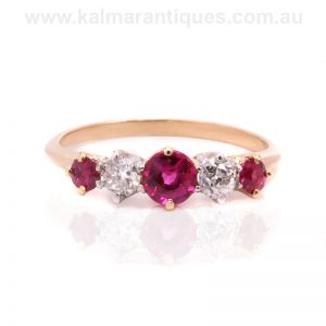 Art Deco ruby and diamond engagement ring made in the 1920's