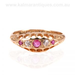 Antique 18 carat ruby and diamond ring made in 1908