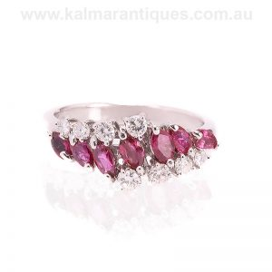 Vintage ruby and diamond ring made in 18 carat white gold