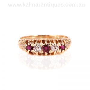 Antique ruby and diamond ring made in London in 1909