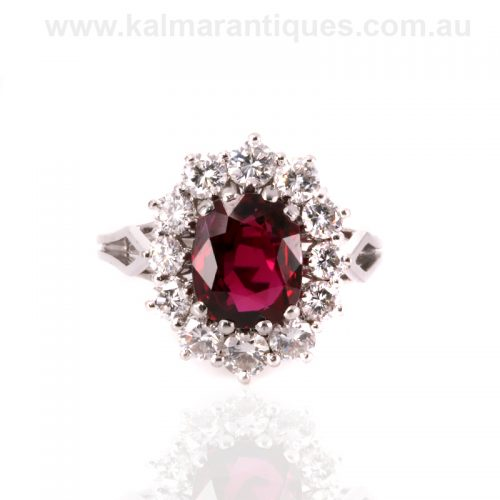 Rare non heat treated natural ruby and diamond ring made in France