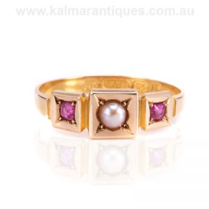 Antique 15 carat gold ruby and pearl ring made in 1876