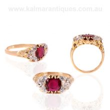 Antique ruby and diamond ring set with an unheated ruby