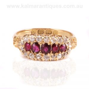 Antique ruby and diamond ring made in Birmingham in 1891