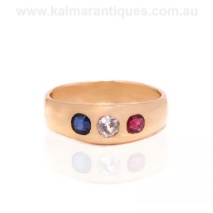 18 carat gold antique ruby, sapphire and diamond ring