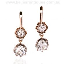 Antique diamond drop earrings made in Russia in the 1890's