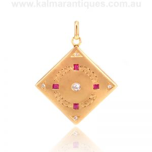 Art Deco ruby and diamond locket made in Russia in the 1920's