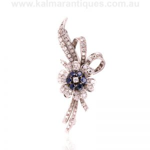 Vintage sapphire and diamond brooch made in 18 carat white gold