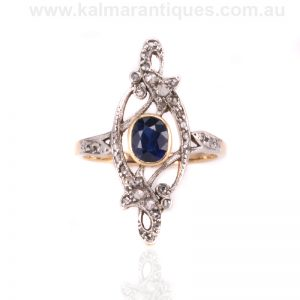 Art Nouveau sapphire and diamond ring