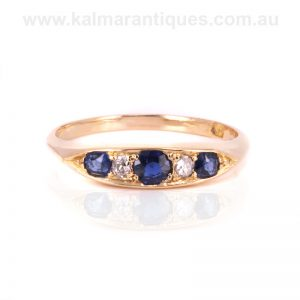 Edwardian era antique sapphire and diamond engagement ring