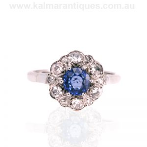 18 carat white gold and platinum Art Deco sapphire and diamond ring