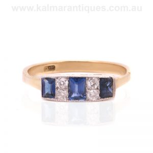 Sapphire and diamond Art Deco ring made in the 1920's