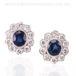 18 carat gold sapphire and diamond cluster earrings