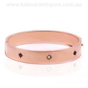antique rose gold sapphire and pearl hinged bangle