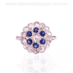 Art Deco sapphire and diamond cluster ring from the 1920's