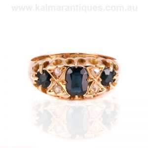 Antique sapphire and diamond engagement ring made in 1915