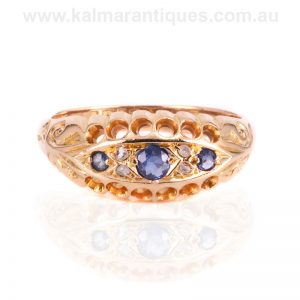 Antique sapphire and rose cut diamond ring made in 1918