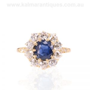 Antique unheat treated Ceylonese sapphire and diamond ring