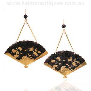 Antique Japanese shakudo fan style earrings