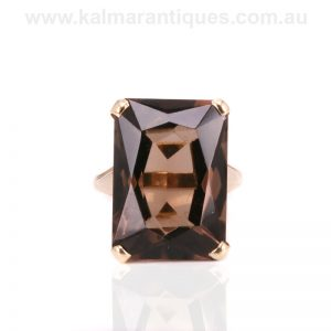 Vintage smoky quartz ring made in London in 1966