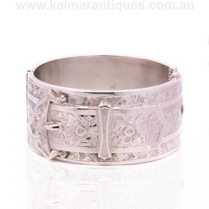 Sterling silver hand engraved hinged bangle made in 1881