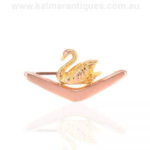 Antique Australian brooch by Willis of a boomerang and a swan