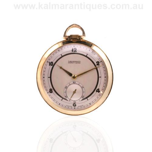 Art Deco 1920's 14ct open face Tavannes pocket watch
