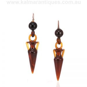 Antique tortoiseshell drop earrings made in the 1870's