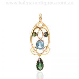 Art Nouveau tourmaline pendant made in 15 carat gold