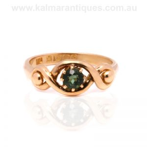 Antique green tourmaline ring that was made in 1902