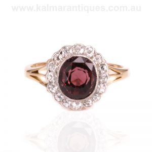 Art Deco tourmaline and diamond cluster ring