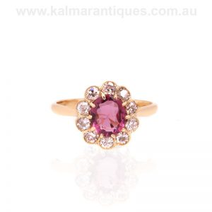 Antique tourmaline and diamond cluster ring made in the early 1900's
