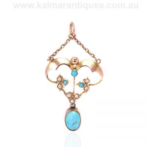 Antique turquoise and pearl rose gold pendant made in the Edwardian era