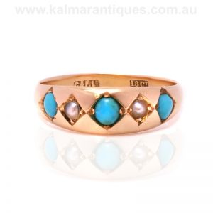 Antique turquoise and pearl ring in 18 carat gold