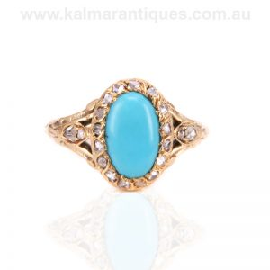 Antique turquoise and rose cut diamond ring made in the 1870's