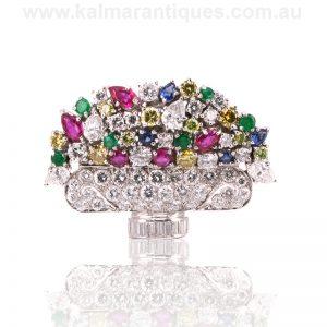 Platinum tutti frutti brooch set with diamonds, sapphire, rubies and emeralds