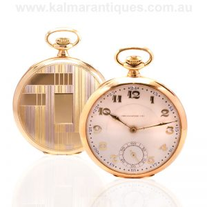 Two tone 18 carat gold Art Deco Uti pocket watch made in the 1920's