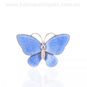 Vintage blue enamel butterfly made by Volmer Bahner