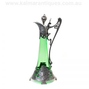 WMF Art Nouveau green glass claret jug made in the 1890's